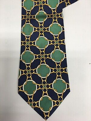 Vintage Paolo Gucci Pure Silk Neck Tie Horsebit Green Multi Made In Italy