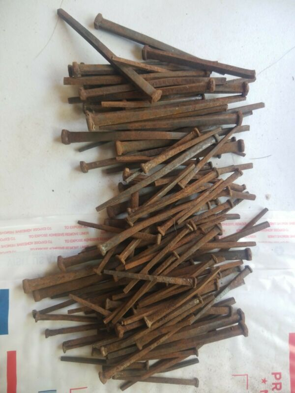 137 Assorted Size Square Nails Old Original  Antique