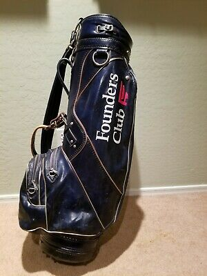 Vintage Burton Blue Vinyl, Founder's Club Branded, Golf Bag; Made in Alabama