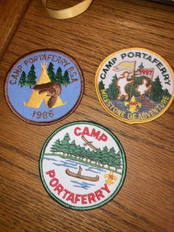 Lot 3 Boy Scout BSA Patches Camp Portaferry 1986 1997 50 Year Annivers 1947-1997