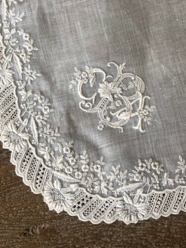 """Antique French c. 1870 hand embroidered initial """"B"""" bridal hanky, linen - 12"""" sq"""
