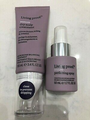 3.4 Ounce Scalp Treatment (Living Proof Restore Dry Scalp Treatment 3.4oz & Restore Perfecting Spray 1.7oz  )