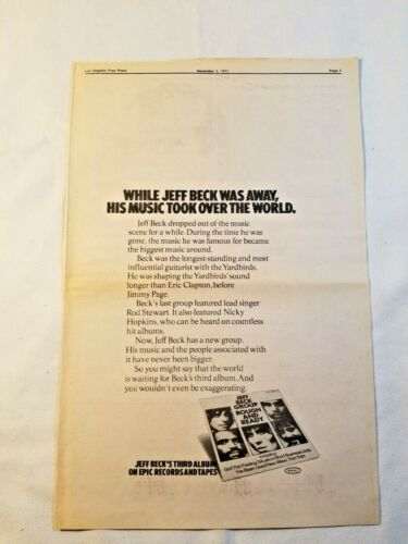 Vintage Ad Jeff Beck Group Rough and Ready 1971 LA FREE PRESS Unframed