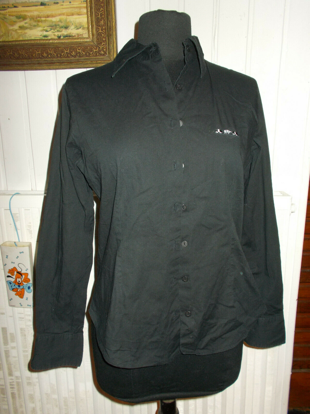Chemisier chemise coton noir stretch mise au green t.1 36/38 manches longues
