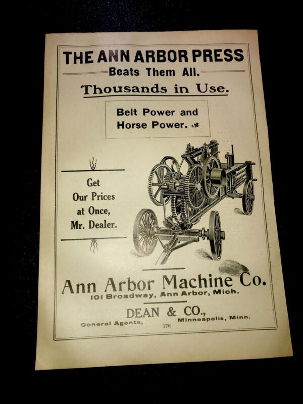 1908 The Ann Arbor Press Machine Farm Advertising - Ann Arbor - Michigan