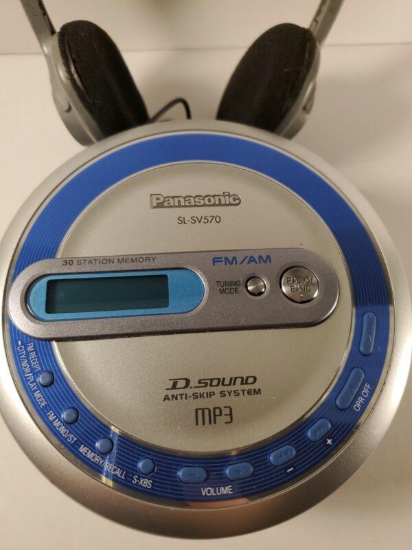CD Player Walkman Panasonic SL-SV570 Portable MP3 FM/AM Radio Silver Headphones
