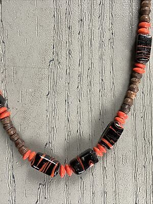 60s -70s Jewelry – Necklaces, Earrings, Rings, Bracelets 1960s Tiki Lounge Orange & Black Necklace with wood  and ceramic beads $10.00 AT vintagedancer.com
