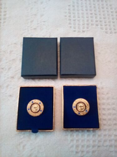 ROTARY INTERNATIONL PAUL HARRIS FELLOW 2 DONOR PINS  3 & 4 SAPPHIRES IN BOXES