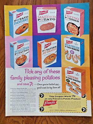 1962 French's Potatoes Ad Pancake Mashed Frying Scalloped Au Gratin Sour Cream