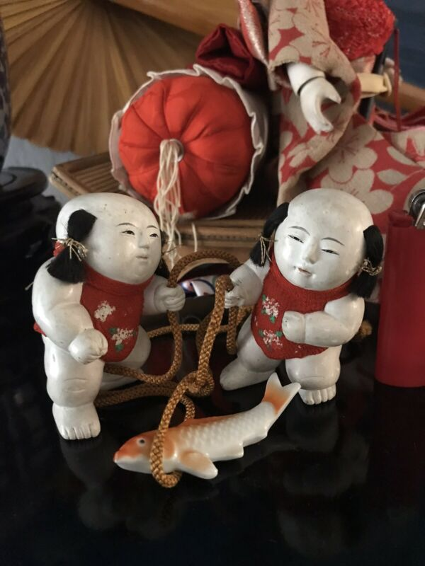 RARE SET EDO GOSHO NINGYO PALACE DOLLS*HI SHEEN GOFUN*SILK VESTS*GOLD EMBROIDERY