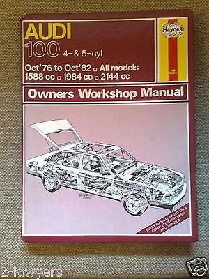 HAYNES WORKSHOP MANUAL AUDI 100 L GL+  4 & 5 cyl 1588cc 1984cc 2144cc 1976-1982