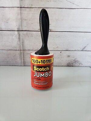 Set 2 Scotch JUMBO Lint Roller 110 Sheets Tears Cleanly Bonus Pet Hair Remover