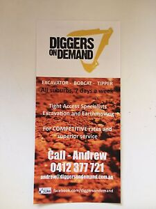 DIGGERS ON DEMAND - Tight access Excavation and Earthmoving Frankston Frankston Area Preview