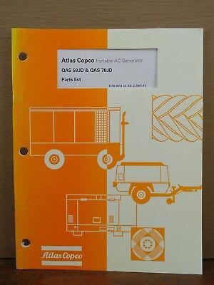 Oem Atlas Copco Qas 58jd Qas 78jd Portable Ac Generator Parts Book List Manual