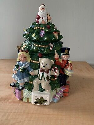 "Vintage SPODE Christmas Tree Hand Painted Cookie Jar 12.5"" Santa & Bears"