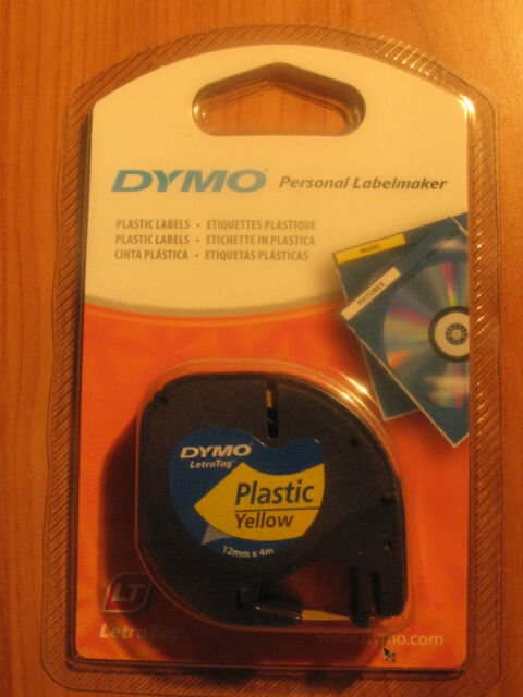 2 x Genuine Dymo Yellow Tape Letratag Label Plastic 91202  free post