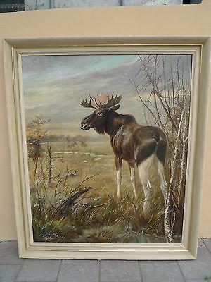 schönes,altes,sehr großes Gemälde__Elch in Landschaft__P.Orth__ !
