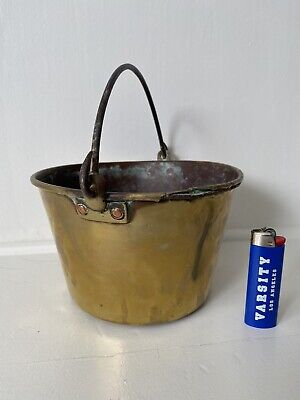 Antique Brass Bucket Pail Wrought Iron Bail Handle Metalware 18th 19th C Hearth
