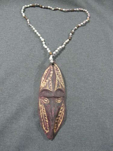 Papua New Guinea carved wood miniature mask & seeds necklace #2