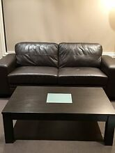 3 seater 100% leather sofa and hard wood coffee table for sales Point Cook Wyndham Area Preview