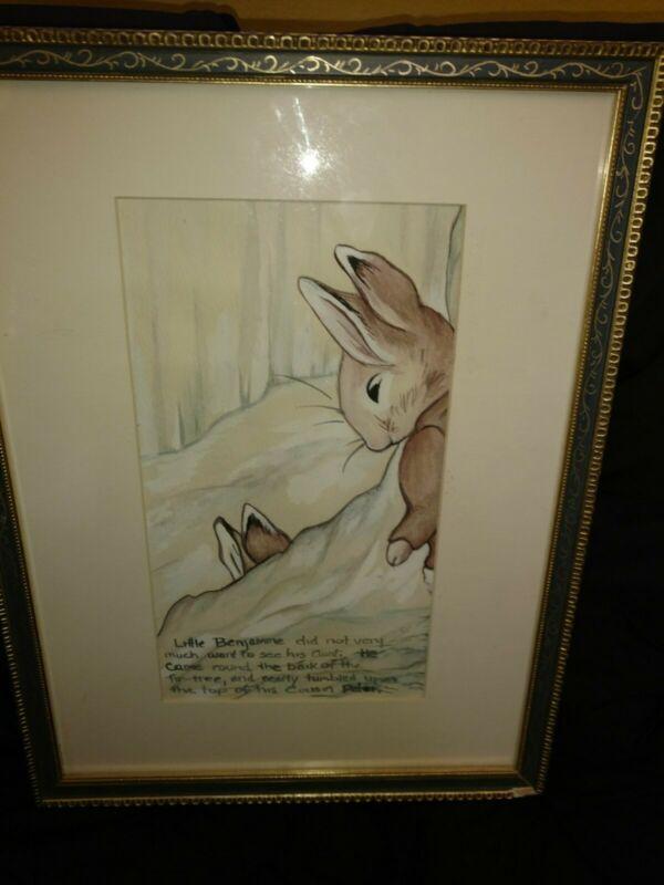 Vintage  Peter Rabbit watercolor framed picture  of Benjamin Bunny