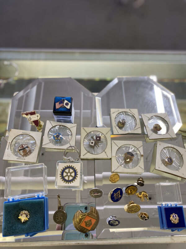 Rare Antique Vintage Fraternal Pin Lot- Knights of Pythias, Masons, More