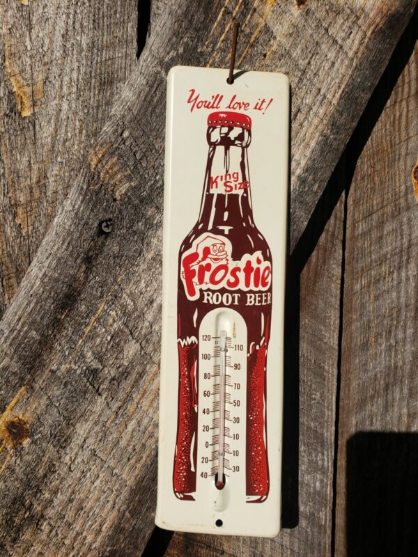 1950s Frostie Root Beer Thermometer Sign. Clean! 13.5inx4.5in. Painted Metal