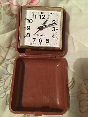 Vintage brown Westclox travel alarm clock. Movement China