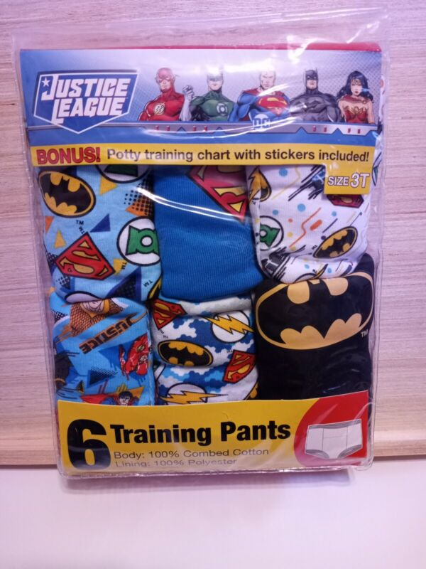 Justice League Boys Toddler Training Pants 6 Pack Size 3T NIP