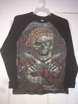 Skully Brand Men's Long Sleeve Pirate Skull Black Thermal Shirt Size Small 34/36](Pirate Shirt Men)