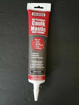 4.5oz All Purpose Caulk Mastic Silicone Sealant White F Tubs Sinks Windows Trim