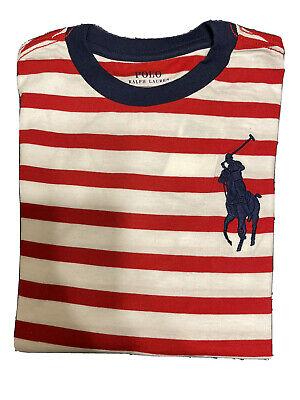 Polo Ralph Lauren Boys White Red Stripe Big Pony T Shirt Size M (10-12)