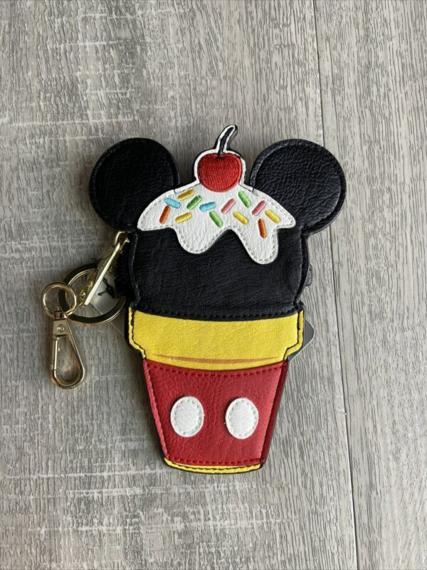 Disney X Loungefly Mickey Mouse Ice Cream Cone Keychain Case Coin Purse Pouch