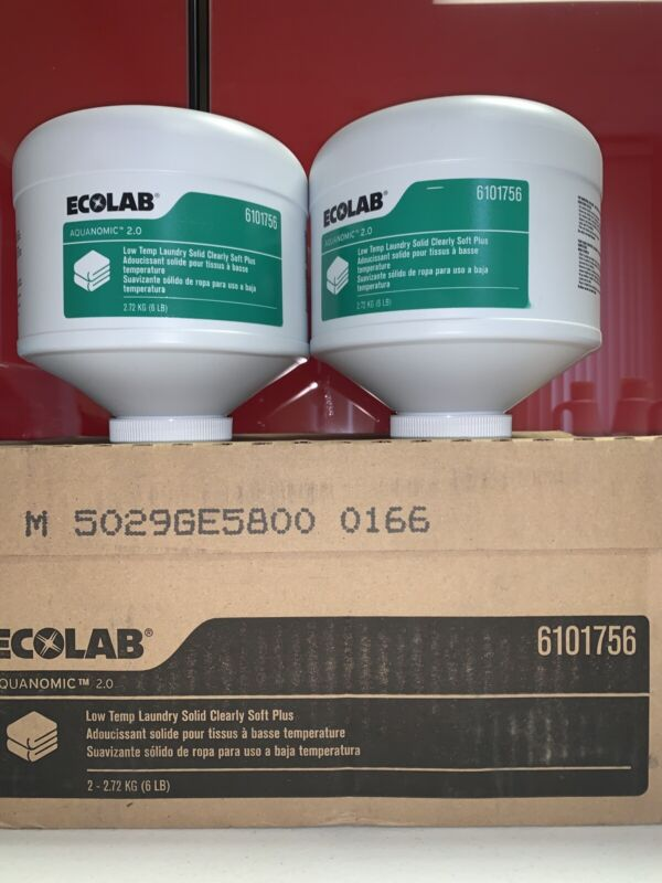 CASE 2 ECOLAB 6101756 Low Temp LAUNDRY Solid Clearly Soft Plus 6lb BLOCKS Ea NEW
