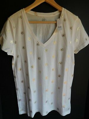 NWT GAP Women's Favorite V-Neck T-Shirt White/Gold Floral Sizes XS S M NEW