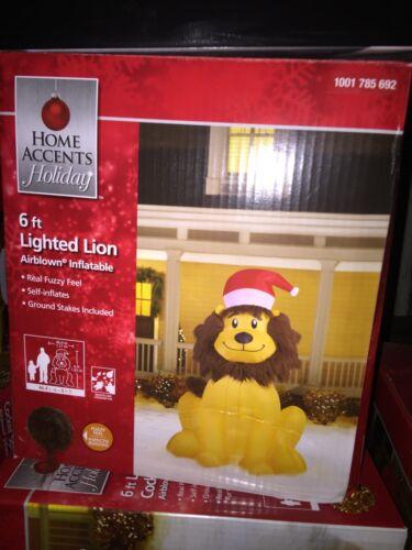 6 Ft Lion Santa Gift Christmas Airblown Inflatable Yard Decor