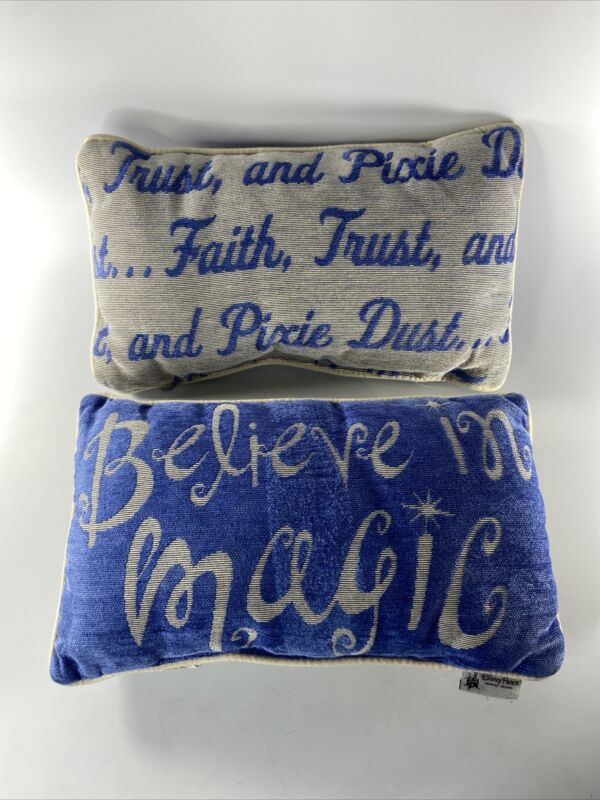 """Lot Of 2 DISNEY PARKS Believe In Magic Blue Decor Rectangle 16""""x 9"""" Throw Pillow"""