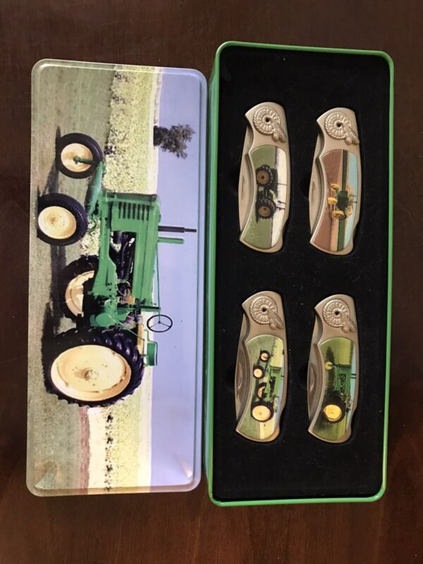 John Deere Collectible Knives Collectors Tin Bin With 4 Knives
