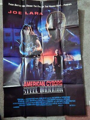 AMERICAN CYBORG STEEL WARRIOR (VIDEO DEALER 40 X 27 POSTER!, 1990S) JOE LARA