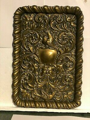 Antique Brass Tray Green Man Fantasy Myth & Magic 30 x 21 cm's