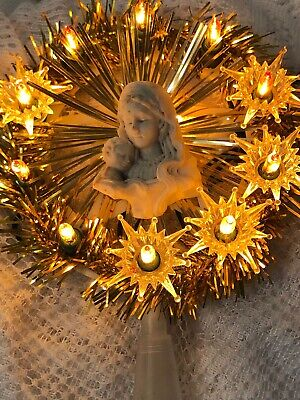 Vintage tree topper 10 light gold tinsel Blessed mother of baby Jesus ()