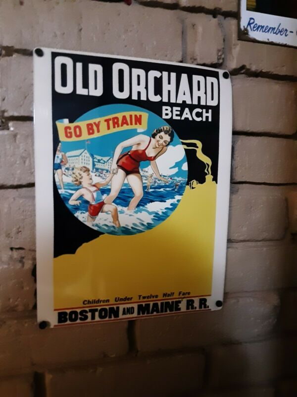 """BOSTON AND MAINE RR """"OLD ORCHARD BEACH"""" SIGN."""