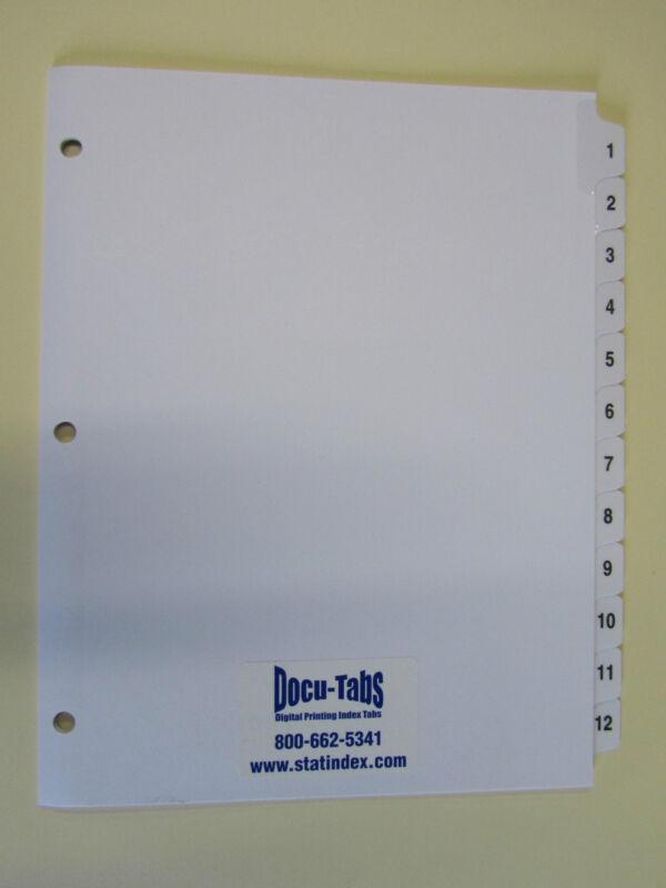 # 1-12 Numbered index tab dividers, 500 SETS $1.69 per set