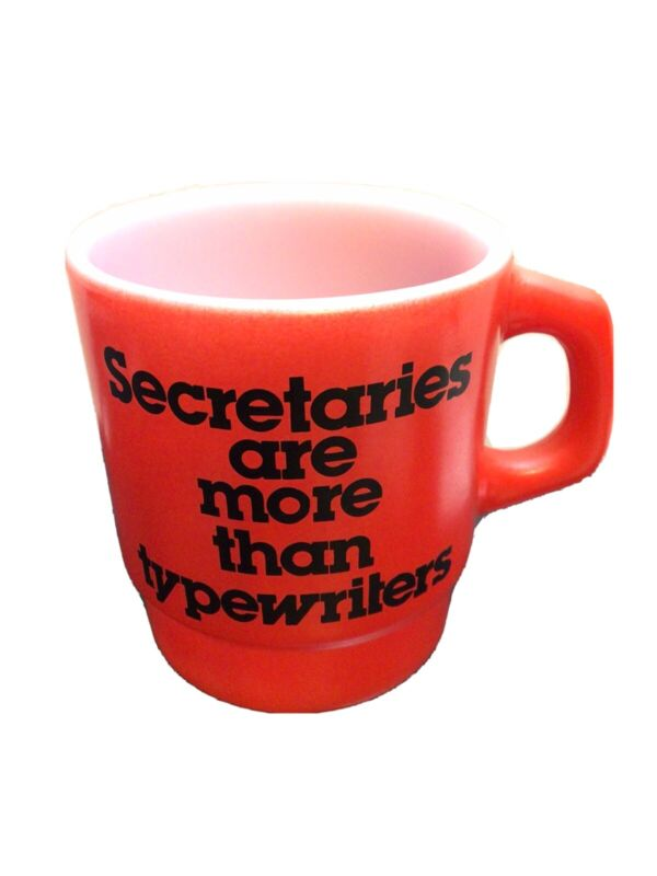 """VTG, ANCHOR HOCKING Coffee Cup Red """"SECRATARIES ARE MORE THAN TYPEWRITERS 3.5"""""""