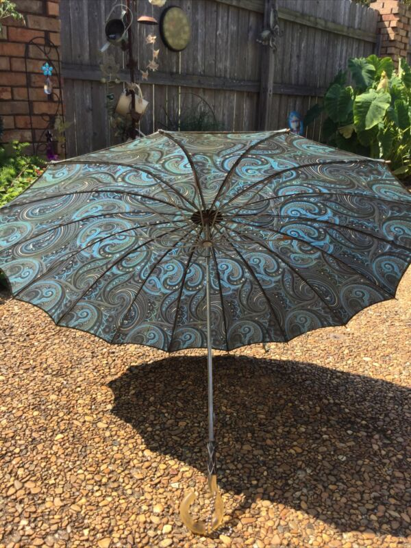 Vintage 1960's Blue Paisley Umbrella With Lucite Handle, Works!