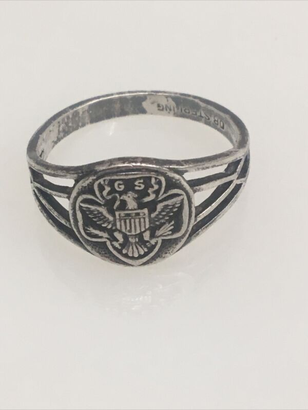 Vintage Sterling Silver Girl Scout Ring Collectible Jewelry