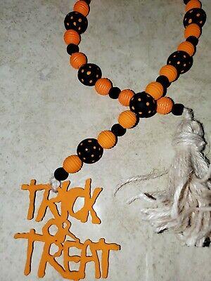 Fall/ Halloween Farmhouse orange & black Trick or Treat wood bead Garland