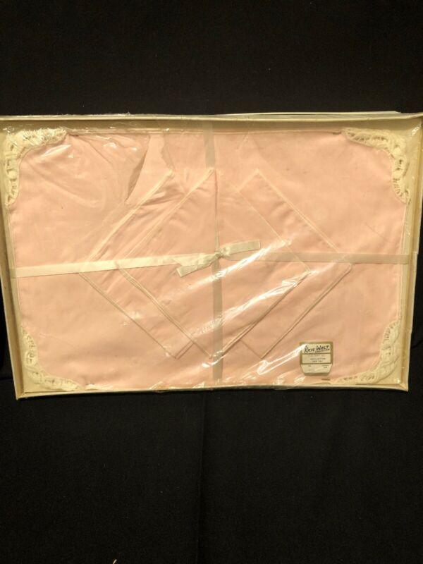 Vintage Pink Kaye Walt Creation Eight Piece Placemat Set