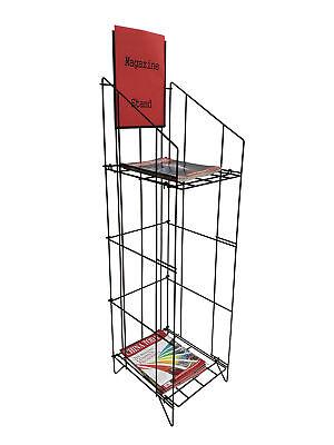 Wire Newspaper Rack Magazine Stand Literature Holder Book Magazine Display
