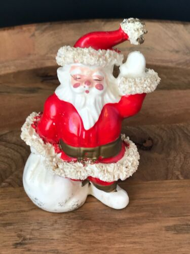 Vintage 1950s Cheerful SANTA Figurine with Spaghetti Trim and Santa Toy Sack